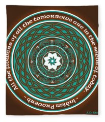 Celtic Lotus Mandala Fleece Blanket