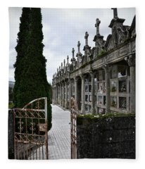 Cemetery In A Small Village In Galicia Fleece Blanket