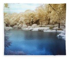 Central Park Lake Infrared Fleece Blanket