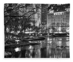Central Park Lake Night Fleece Blanket