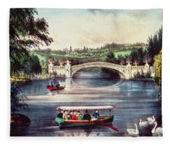 Central Park   The Bridge  Fleece Blanket