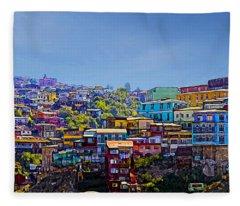 Cerro Artilleria Valparaiso Chile Fleece Blanket