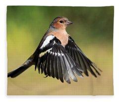 Chaffinch In Flight Fleece Blanket