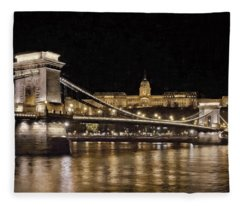 Chain Bridge And Buda Castle Winter Night Painterly Fleece Blanket