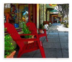 Chairs On A Sidewalk Fleece Blanket