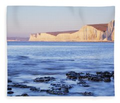 Chalk Cliffs At Seaside, Seven Sisters Fleece Blanket