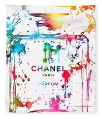 Chanel Number Five Paint Splatter Fleece Blanket