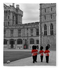 Changing Of The Guard At Windsor Castle Fleece Blanket