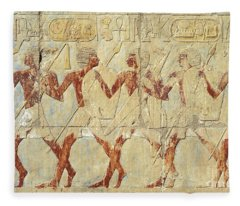 Chapel Of Hathor Hatshepsut Nubian Procession Soldiers - Digital Image -fine Art Print-ancient Egypt Fleece Blanket