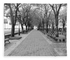 Charleston Waterfront Park Walkway - Black And White Fleece Blanket
