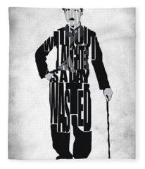 Charlie Chaplin Typography Poster Fleece Blanket