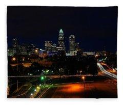 Charlotte Nc At Night Fleece Blanket
