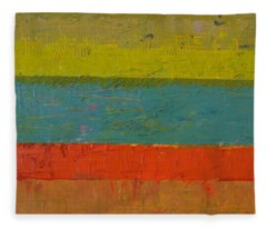 Chartreuse And Blue With Orange Fleece Blanket