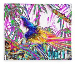 Cheerful Parrot. Colorful Art Collection. Promotion - August 2015 Fleece Blanket
