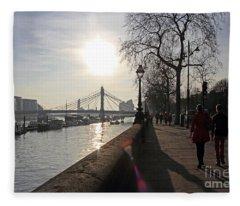 Chelsea Embankment London Uk Fleece Blanket