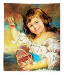 Cherry Basket Girl Fleece Blanket
