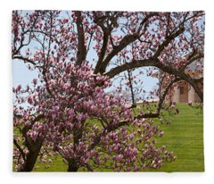 Cherry Blossom Trees At The Gravesite Fleece Blanket