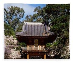 Cherry Blossom Trees In A Garden Fleece Blanket