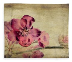 Cherry Blossom With Textures Fleece Blanket