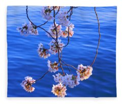 Cherry Blossoms Hanging Over Tidal Basin Fleece Blanket