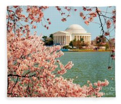 Cherry Trees At The Jefferson Fleece Blanket