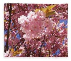 Cherry Trees Blossom Fleece Blanket