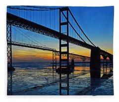 Chesapeake Bay Bridge Reflections Fleece Blanket