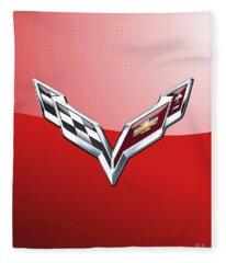 Chevrolet Corvette - 3d Badge On Red Fleece Blanket