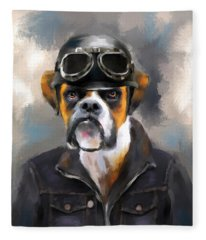 Chic Boxer Aviator Fleece Blanket