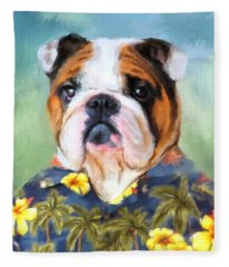 Chic English Bulldog Fleece Blanket