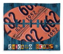 Chicago Bears Football Recycled License Plate Art Fleece Blanket