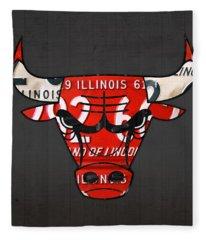 Chicago Bulls Basketball Team Retro Logo Vintage Recycled Illinois License Plate Art Fleece Blanket