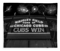 Chicago Cubs Win Fireworks Night B W Fleece Blanket