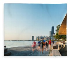 Chicago Lakefront Panorama Fleece Blanket
