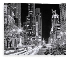 Chicago Michigan Avenue Light Streak Black And White Fleece Blanket
