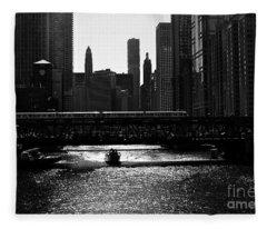 Chicago Morning Commute - Monochrome Fleece Blanket