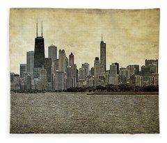 Chicago On Canvas Fleece Blanket