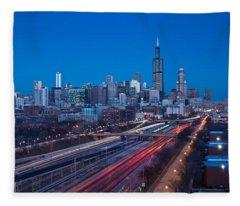 Chicago Panorama Fleece Blanket