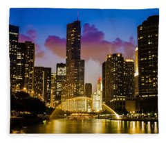 Chicago River Dusk Scene Fleece Blanket
