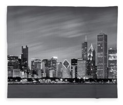 Chicago Skyline At Night Black And White Panoramic Fleece Blanket