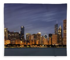 Chicago Skyline At Night Color Panoramic Fleece Blanket