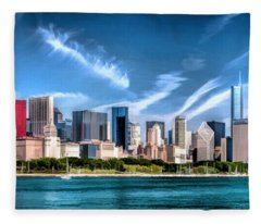 Chicago Skyline Panorama Fleece Blanket