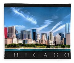 Chicago Skyline Panorama Poster Fleece Blanket