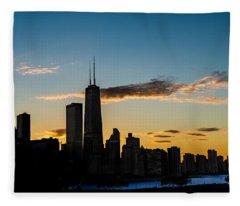 Chicago Skyline Silhouette Fleece Blanket
