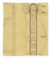 Chicago Theatre Blueprint Fleece Blanket