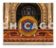 Chicago Theatre Marquee Sign Fleece Blanket
