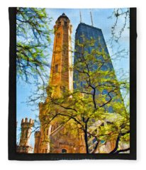 Chicago Water And Hancock Towers Poster Fleece Blanket