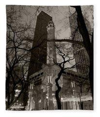 Chicago Water Tower B W Fleece Blanket