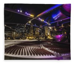 Chicago's Pritzker Pavillion With Colored Lights  Fleece Blanket