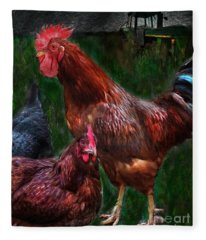 Chickens Fleece Blanket